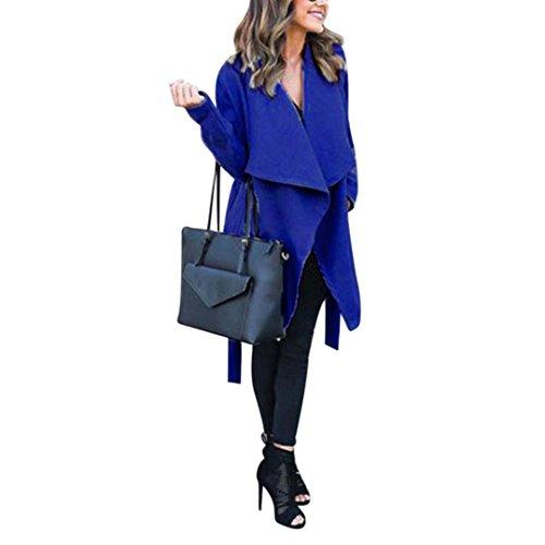 Escudo, abrigo,Internet Abrigo largo de sudadera abierta Warm Women Chaqueta supera Outwear con cinturón Azul