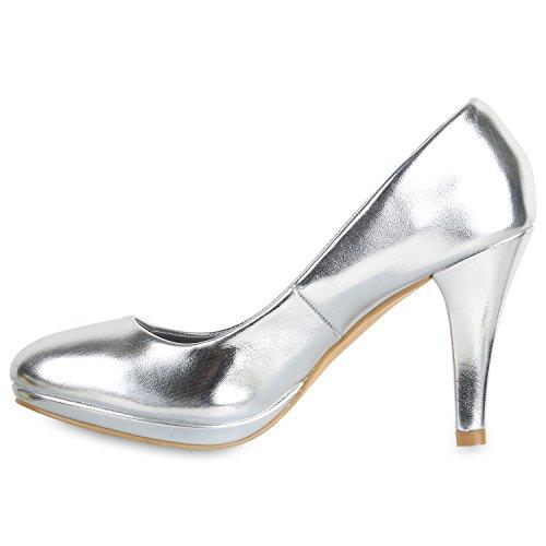 Stiefelparadies Klassische Damen Pumps Stiletto High Heels Leder-Optik Schuhe Flandell Silber