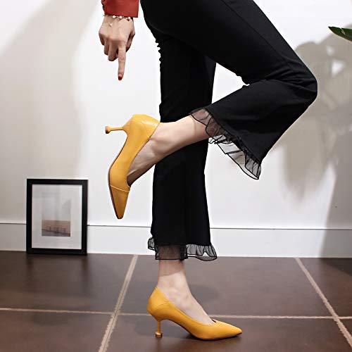 Fino Delgados Con Profesionales Moda Y Alto Alto De El La Ajuste Gato Mujer Los Yellow Yukun Zapatos Caída Puntiagudos Tacón 8Twan0