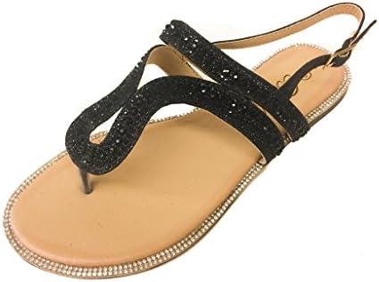 a7308e55c71c Pazzle Amber-04 Women Rhinestone Embellished Thong Flat Sandal Wedding  Bridesmaid. Slingback strap.