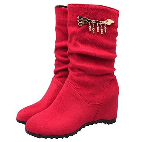 AIYOUMEI Damen Keilabsatz Halbschaft Stiefel mit Reißverschluss und Strass High Heels Keilstiefeletten Schuhe Rot