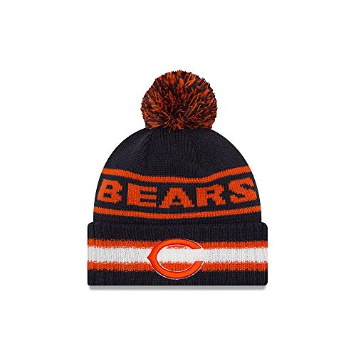 - New Era Knit Chicago Bears Biggest Fan Redux Sport Knit Winter Stocking Beanie Pom Hat Cap NFL