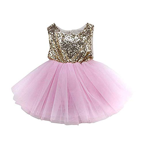 (MARI CIAS Special Occasion Girls Dress Pink Tutu Wedding Christening Birthday Baby Toddler Dress (70, Pink))
