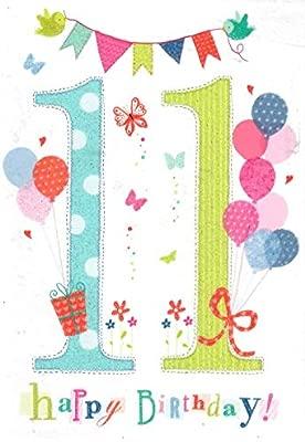 Tarjeta de felicitación de cumpleaños número 11 para niñas ...