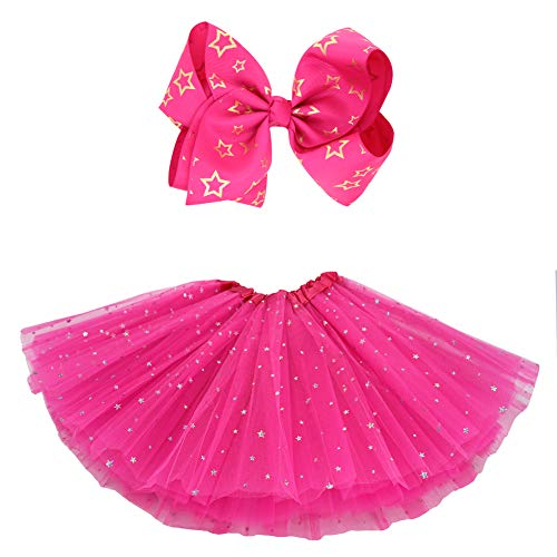 BGFKS 5 Layered Tulle Tutu Skirt for Girls with Hairbow and Hairties, Ballet Dressing Up Kid Tutu Skirt (Star-Hot Pink, 2-8 Years Old)]()