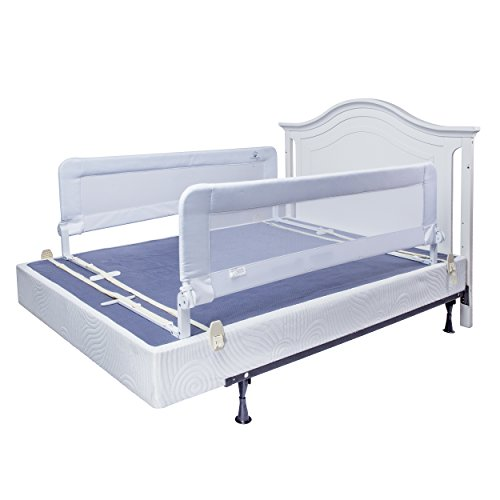 toddler bed rail guard for convertible crib, kids twin, double, full size queen & king (white-xl-2 pack)