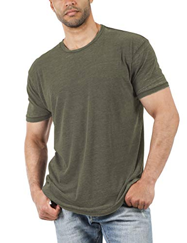 Hat and Beyond Mens Short Sleeve Burnout Crewneck Tee Vintage Faded T Shirt (2X-Large, 1hc21_Dark Olive)