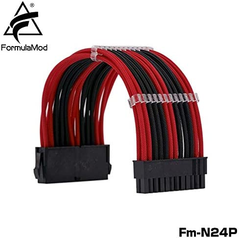 Logo FormulaMod Fm-N24P ATX 24Pin 20+4 Power Extension Cable for Motherboard 24 Pin 18AWG Combination Color Cables with Cable Comb Cable Length : 900 mm, Color : Black Silver