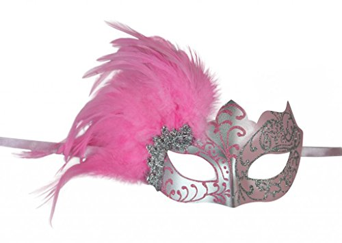 KAYSO INC Venetian Masquerade Mask with Feathers Silver & (Pink Venetian Masquerade Mask With Feathers)