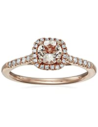14k Pink Gold Morganite and Diamond (0.20 cttw, H-I Color, I2-I3 Clarity) Cushion Halo Engagement Ring, Size 7