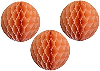 "product image for 12"" Honeycomb Tissue Paper Ball Decoration (3-Pack, Peach)"