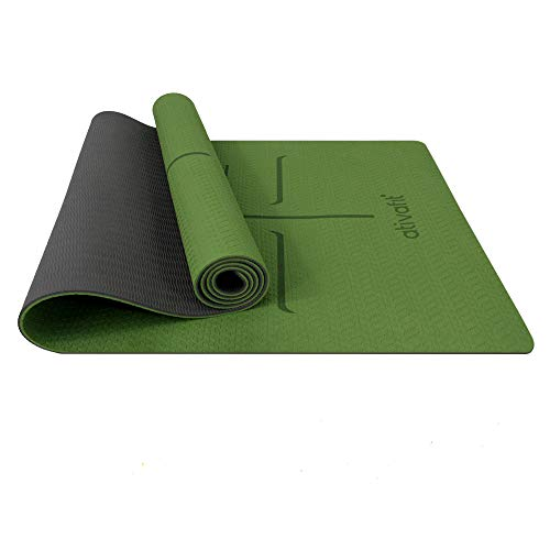 ATIVAFIT Non Slip TPE Yoga Mat Exercise & Workout Mat with Carrying Strap Perfect for Yoga Exercise, Extra Large  - 72x23.2x0.24 Inch
