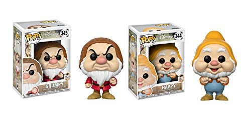 Funko POP! Disney's Snow White and the Seven Dwarfs Grumpy Dwarf and Happy Dwarf Toy Action Figure - 2 POP BUNDLE ()