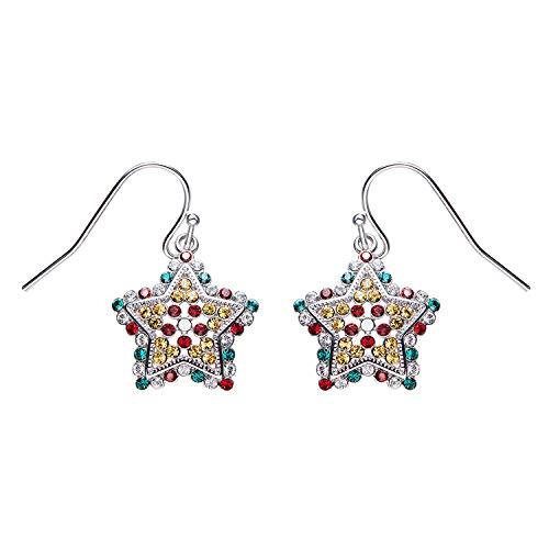 YANGLAN Multicolored Zircon Stars Earrings Female, Colorful Crystal Ear Hooks, Christmas Exquisite Earrings, Gifts