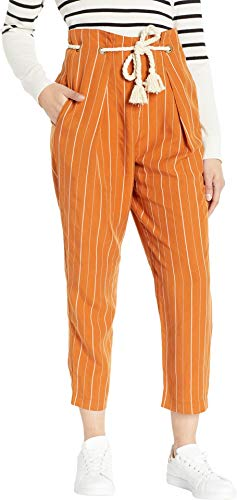 ASTR the label Women's Neo High Waisted Pleated Pinstripe Cropped Pants, Papaya Stripe, XS