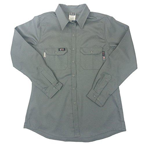 Lapco FR L-SFRACGY-ME RG Ladies FR Advanced Comfort Uniform Shirts, 88% Cotton, 12% Nylon Blend Twill, 7 oz, Medium Regular, Gray (Advanced Twill)