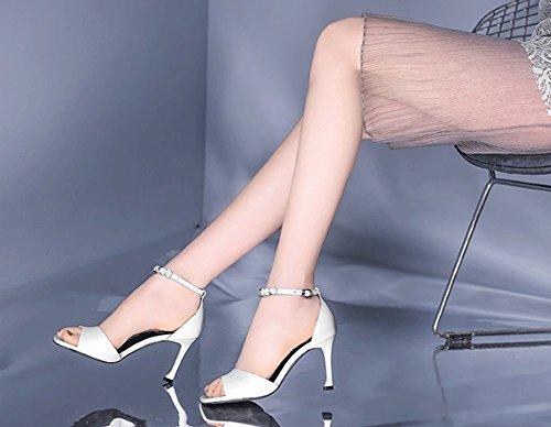 Scarpe Temperamento Bianco Sottile pelle Sexy in Moda stile Elegante Trendy Square vera Dolce Tacco Nuovo Europe E strass Sandali con America Jazs® alto nOqpBW6B