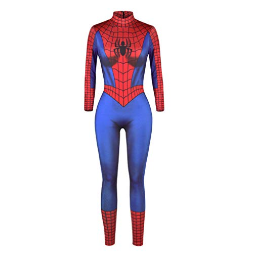 IYOWEL Women's Halloween Jumpsuits Skeleton Costume Bone Print Stretch Funny Cosplay Catsuit Bodysuit Rompers (M, BlueRed Spider)]()