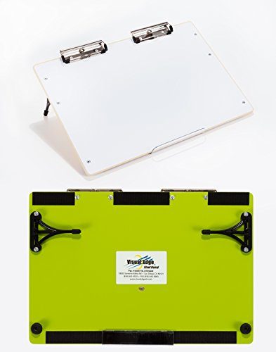 (Visual Edge Slant Board (Green), A Sloped Work Surface for Writing, Reading, Art and Speech for Optimal Learning - Portable Desktop Magnetic Dry Erase White Board with Clipboard for Kids)