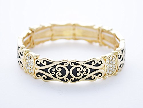 Le BeauTM Colorpop Glossy Polished Enamel Finish Filigree Stretch Bracelet (Gold Tone - Bangle Design Bracelet Stretch