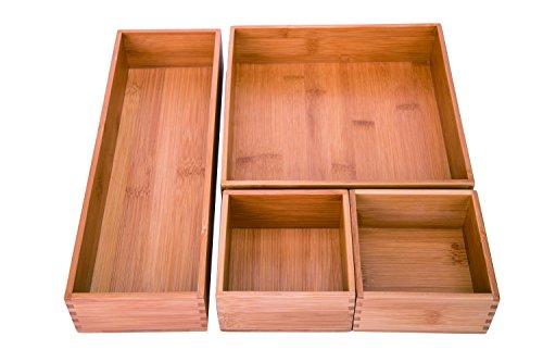 Sansnow Bamboo Drawer Tray Organizer Set Office Collection 4PCS