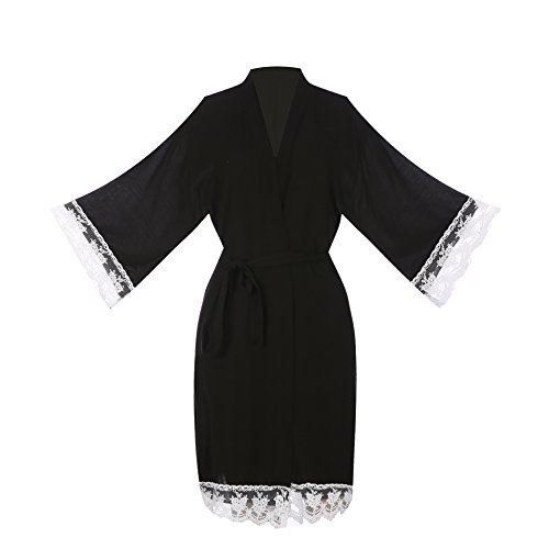 ellenwell Women's Cotton Knit Kimono Robe For Bride and Bridesmaid With Lace Trim Nightwear(Larage,Black) (Robe Cotton Womens)