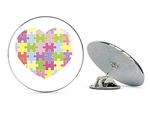 BRK Studio Colorful Heart Puzzle Piece Autism Awareness Love Green Yellow Purple Pink Blue Round Metal 0.75