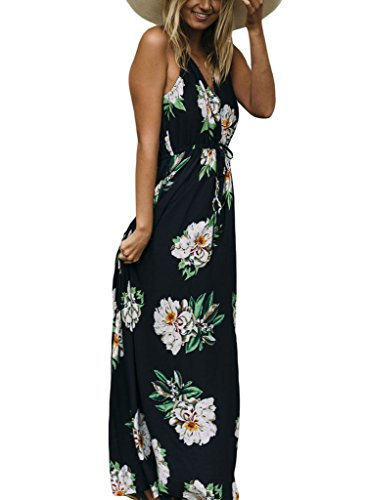 Print Women's V Beach Flower Foiled Dress Sidefeel Maxi Neck Dark Navy dIqT1ww
