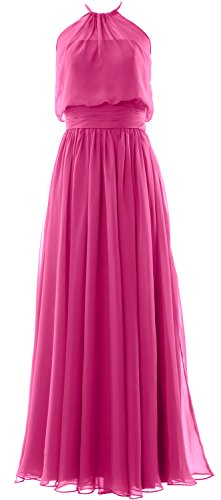Gown Women Chiffon Bridesmaid Long Evening Fuchsia Formal MACloth Halter Dress Party PzZAqqW