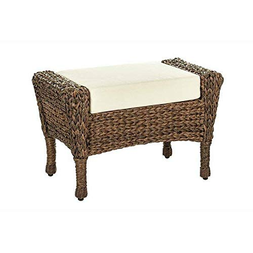 Gracie Oaks Outdoor Faux Seagrass Wicker Ottoman with Cushion + Free Basic Design Concepts Expert Guide ()