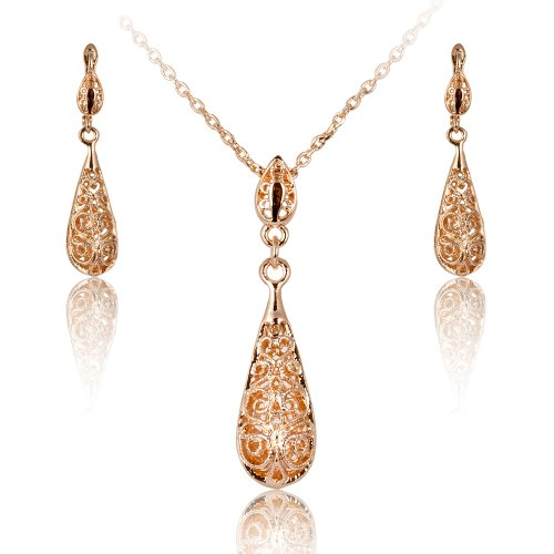 New Style Tear Drop Filigree Floral Necklace and Earring Set Hook Jewelry Set (Engament Ring Diamond)