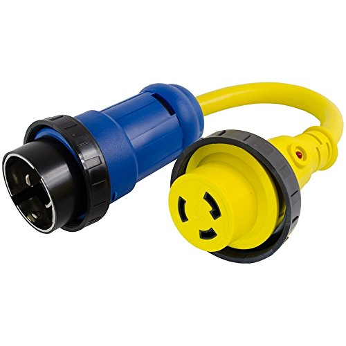 Conntek Marine Shore Pigtail Adapter Cord 50 Amp 125/250 Volt Shore Male Plug to 30 Amp 125 Volt Shore Female Connector