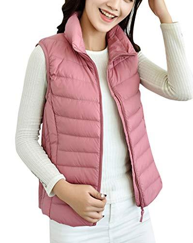 De Mujer Pink Para Mangas Abrigo Pluma Sin Chaleco Chaqueta Plumífero Invierno Cremallera x4w7q6SI