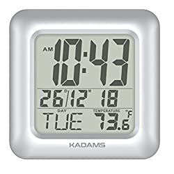 KADAMS Digital Bathroom Shower Clock, Waterproof for Water Spray, Indoor Temperature, Seconds Counter, Humidity and Moisture Proof, Date Month Weekday Display, Suction Cups, Table Stand, Wall Clock