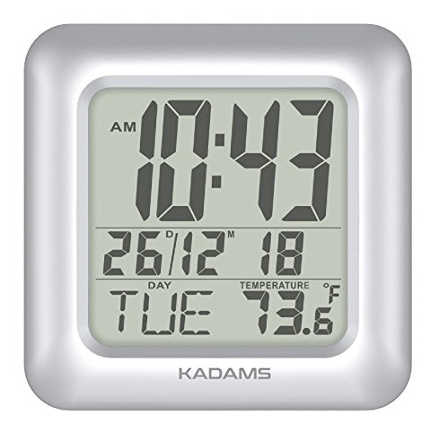 KADAMS Digital Bathroom Shower Clock, Waterproof for Water Spray, Indoor Temperature, Seconds Counter, Humidity and Moisture Proof, Date Month Weekday Display, Suction Cups, Table Stand, Wall - Silver Mirror Spa