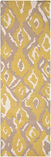 Surya Beth Lacefield Alameda AMD-1052 Hand Woven 100-Percent Wool Ikat and Suzani Runner Rug, 2-Feet 6-Inch by 8-Feet