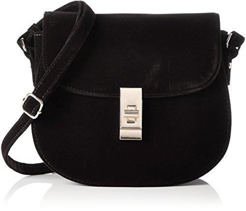 Buffalo Damen Bag 16bwg-36 Velvet Umhängetasche, 6x20x22 cm Schwarz (Black 01)