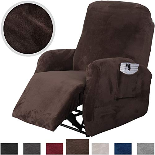 Rose Home Fashion RHF 4 Separate Piece Velvet Recliner Slipcovers, Recliner Chair Cover, Recliner Cover Furniture Protector Elastic Bottom, Recliner Slipcover with Side Pocket (Chocolate-Recliner)