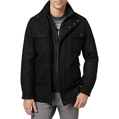 MICHAEL Michael Kors Mens Big & Tall Wool Attached Bib Field Coat Black (Michael Kors Black Wool)