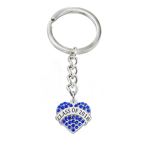 Graduation Gifts – Class of 2018 Keychain Heart Shaped Key Ring Gifts (Weiss Blue Rhinestone)