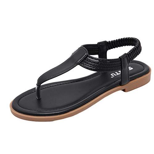 Peep Toe Sandals,HOSOME Women Clip Toe Comfortable Flip Flop Elastic Band Summer Beach Creepers Sandals ()