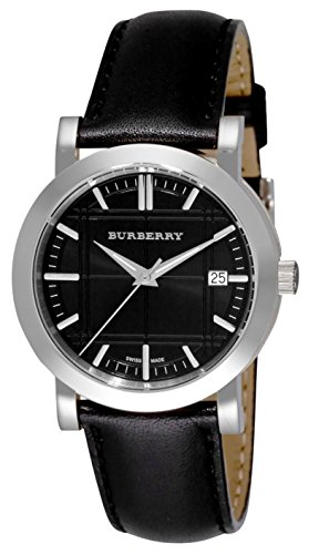 Burberry LUXURY RARE Watch Men Women Unisex 36mm Heritage Collection Stainless Steel, Black Leather Textured Date Dial BU1354