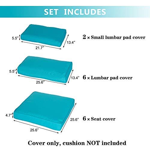 Kinbor Patio Wicker Furniture Sectional Sofa Seat Rattan Patio Seating Cushion Cover Set (Blue) (Covers Seat Cushions Patio)