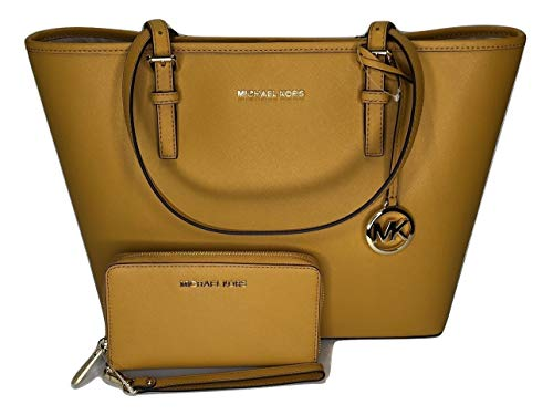 MICHAEL Michael Kors Jet Set Travel MD Carryall Tote bundled with Michael Kors Jet Set Travel Flat Phone Wristlet/Wallet (Marigold) – The Super Cheap