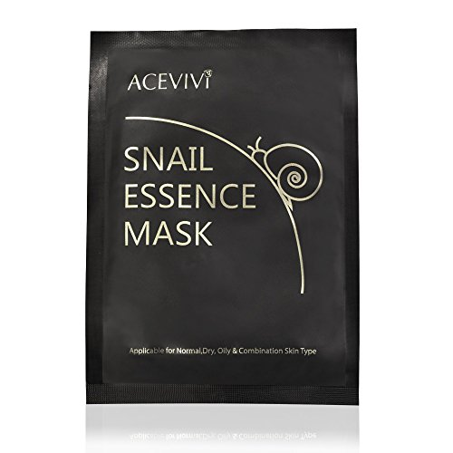 ACEVIVI Snail Essence Mask Full Face Facial Mask Sheet - Reduce Appearance of Dark Spots / Blackheads - 10 individually wrapped disposable facial treatment for all skin types