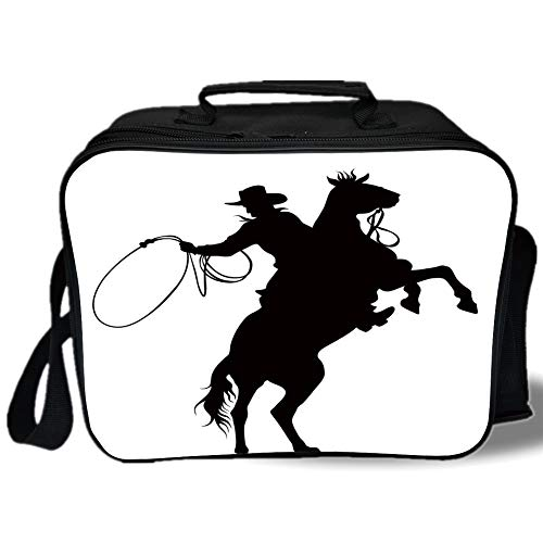 Insulated Lunch Bag,Cartoon,Cowboy and Horse Silhouette Man With a Hat Shadow Texas Rural Illustration,Black and White,for Work/School/Picnic, Grey