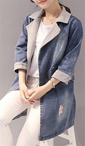 IWFREE Damen Jeansjacke Mantel Denim Jacke Jacket Jeans Blouson Outwear Coat Lose Jacken Mädchen Frauen Beiläufig Stilvoll