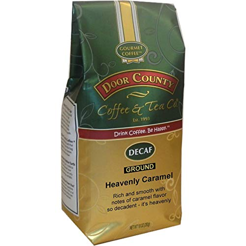Door County Coffee, Heavenly Caramel Decaf, Ground, 10oz Bag