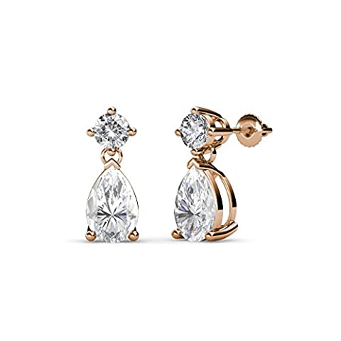 Pear White Sapphire and Diamond (SI2-I1, G-H) Dangling Stud Earrings 1.25 ct tw in 14K Rose Gold - I1 Pear Earrings