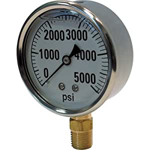 Valley Instrument Hydraulic Pressure Gauge - Liquid Filled, 5000 PSI